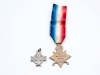 Memorial Cross (issued to mothers of Canadian soldiers who died in World War I) and 1914 – 15 Star (awarded to British/Canadian soldiers who were in an active theatre of war between 5 August 1914 and December 1915. Many Canadians in the 1st and 2nd Contingent received this medal. Both of these medals are named to 6688 Pte. James Heather of Chatham who enlisted in the 1 st Battalion in September 1914 and went overseas with the 1st Contingent. He was killed in 1916. Heather's father and brother (both named Samuel) were also killed in the war. (Back)