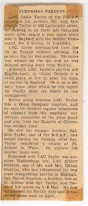 Newspaper Article regarding Eric and Les in WW2