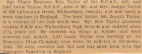 Newspaper article with picture of Eric & Les Taylor